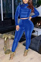 Blue Simple Woman Velvet Long Sleeve High Collar Top Bodycon Pants Slim Fitting Sets TK6143-4