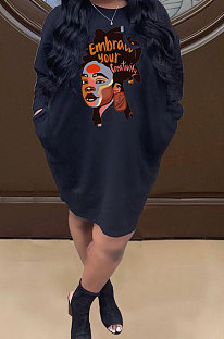 Black Women Pullover Round Collar Casual Printing Loose Pocket Mini Dress HZF57816