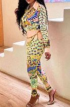Yellow Wholesale Autumn Winter Positioning Print Long Sleeve Lapel Neck Shirt Bodycon Pants OL Sets CM2156-4