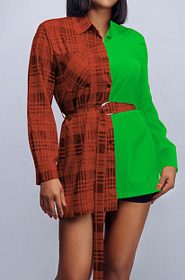 Green Plaid Digital Print Contrast Color Spliced Long Sleeve Single-Breasted With Beltband Shirts SZS8170-2