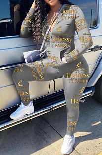 Grey Cotton Blend Letter Printing Long Sleeve Stand Neck Zip Front Coat Pencil Pants Sport Sets TK6145-1
