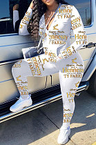 White Cotton Blend Letter Printing Long Sleeve Stand Neck Zip Front Coat Pencil Pants Sport Sets TK6145-5