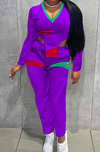 Purple Cotton Blend Positioning Print Long Sleeve V Neck Blouse Sweat Pants Casual Sets SZS8169-2