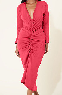 Red Women Long Sleeve Pure Color Both Sides Wear Fashion Plus Long Dress AYM5037-2