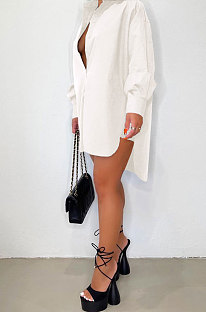 White Modest Pure Color Long Sleeve Lapel Neck Single-Breasted Slit Shirt Dress BBN201-2