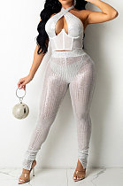 White Sexy Halter Neck Sleeveless Solid Color Sequins Hollow Out Backless Bodycon Split Pants Sets YF9278-2