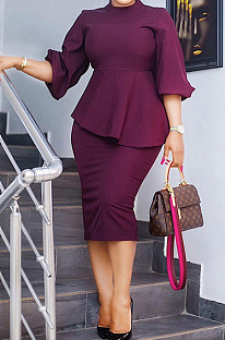 Brown Red Fashion Three Quarter Sleeve High Neck Blouse Midi Skirts Solid Color Sets SZS8156-2