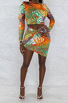 Orange Sexy Women Long Sleeve Round Collar Crop Printing Irregular Skirts Sets HZF57818