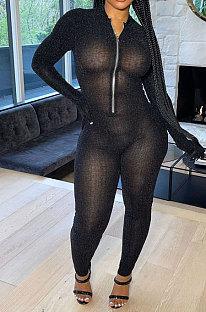 Black Autumn Winter Mesh Long Sleeve Zip Front Slim Fitting Jumpsuits ALS266-3