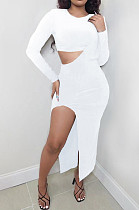 White Wholesale Women Long Sleeve Round Collar Crop Top Irregularity Condole Belt Skirts Sets TD80063-3