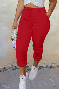 Red Sport Casual Solid Color Drawsting Ankle Banded Pants BBN205-5
