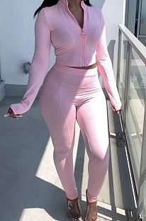 Pink Newest Simple Long Sleeve Zip Front Coat Bodycon Pants Solid Color Sets ARM8307-4