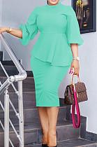 Lake Blue Fashion Three Quarter Sleeve High Neck Blouse Midi Skirts Solid Color Sets SZS8156-3