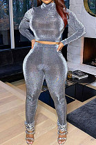 Gray Simple Woman Velvet Long Sleeve High Collar Top Bodycon Pants Slim Fitting Sets TK6143-3
