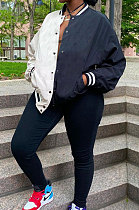 White Casual Contrast Color Webbing Spliced Long Sleeve Cardigan Baseball Coat CYY00031-2