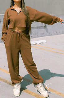 Coffee Women Fashion Casual Pure Color Long Sleeve Crop Pants Sets AYQ08020-1