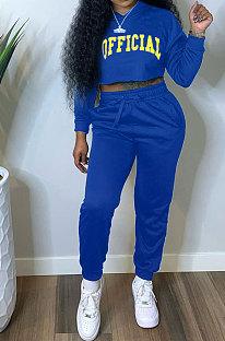 Blue Women Long Sleeve Hooded Printing Long Pants Sets SMY81114-2