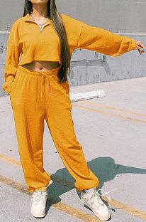 Yellow Women Fashion Casual Pure Color Long Sleeve Crop Pants Sets AYQ08020-5