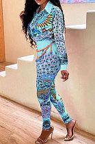 Blue Wholesale Autumn Winter Positioning Print Long Sleeve Lapel Neck Shirt Bodycon Pants OL Sets CM2156-3