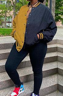Yellow Casual Contrast Color Webbing Spliced Long Sleeve Cardigan Baseball Coat CYY00031-3