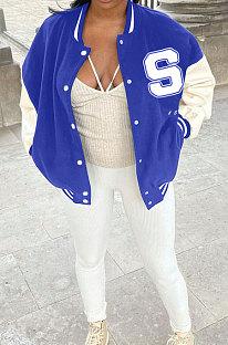 Dark Blue Autumn Winter Women Euramerican Fashion Cardigan Printing Ribber Coat SMY81116-2