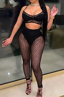 Black Mesh Spaghetti Sexy Condole Belt Tank Solid Color Sleeveless Pants Sets WithUnderwear YF9268