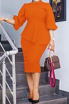 Orange Fashion Three Quarter Sleeve High Neck Blouse Midi Skirts Solid Color Sets SZS8156-1