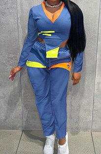 Blue Cotton Blend Positioning Print Long Sleeve V Neck Blouse Sweat Pants Casual Sets SZS8169-3