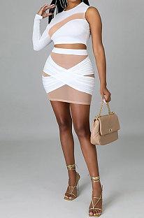 White Women Sexy Spliced Single Sleeve Round Collar Tops Skirts Sets YF9243-2