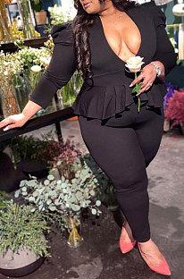 Black Women Euramerican Ruffle Flounce V Collar Fashion Plus Pants Sets HZF57815