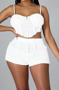 White Women Sleeveless Strapless Tank Pure Color Sport Sexy Condole Belt Shorts Sets YF9248-1