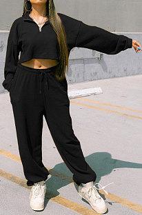 Black Women Fashion Casual Pure Color Long Sleeve Crop Pants Sets AYQ08020-2