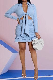 Blue Women Sexy Long Sleeve V Collar Bandage Ruffle Skirts Sets HZF57817