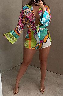 Rose Red Women Long Sleeve Cardigan Fashion Printing Single-Breasted Turn-DownCollar Shorts Sets YY5301-3