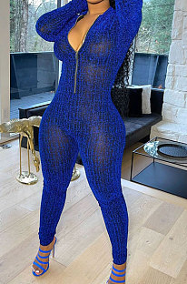 Blue Autumn Winter Mesh Long Sleeve Zip Front Slim Fitting Jumpsuits ALS266-2