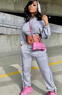 Gray Euramerican Trendy Solid Color Autumn Winter Loose Crop Hooded Tassel Pocket Pants Sets AYM5038-1