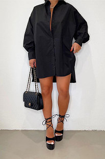 Black Modest Pure Color Long Sleeve Lapel Neck Single-Breasted Slit Shirt Dress BBN201-1