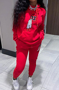 Red Women Long Sleeve Pure Color Printing Casual Pants Sets SMY81115-1