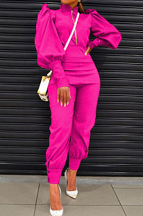 Rose Red Women Fashion Solid Color Puff Sleeve Zipper High Waist Pants Sets MR2120-3