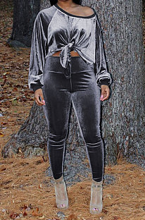 Gray Women Long Sleeve Round Collar Korea Velvet Solid Color Sexy Long Pants Sets MR2123-3