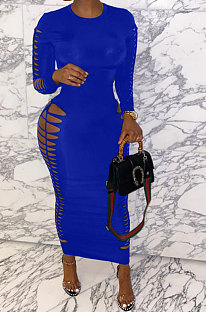 Bright Blue Women Sexy Pure Color Long Sleeve Hollow Out Mid Waist Round Collar Long Dress NYP013-5