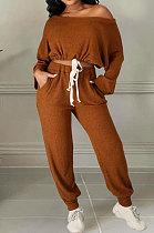 Coffee Cotton Blend A Wrod Shoulder Long Sleeve T Shirts Sweat Pants Sets HHM6528-5