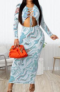 Light Blue Women Long Sleeve Fashion Printing Bandage Hollow Out Skinny Bodycon Long Dress HZF57819-1
