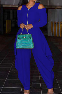Blue Modest  Newest Long Sleeve Off Shoulder Zip Front Loose Solid Color Jumpsuits AMX6057-6