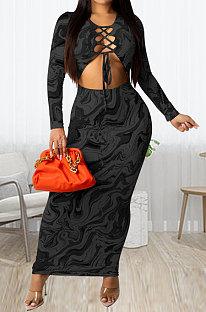 Black Women Long Sleeve Fashion Printing Bandage Hollow Out Skinny Bodycon Long Dress HZF57819-2