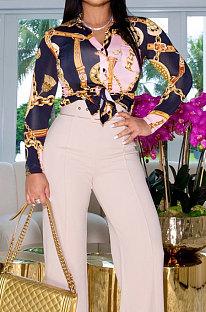 Pink Women Trendy Turn-DownCollar V Collar Printing Shirts ZYL1013-1