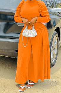 Orange Women Fashion Casual Tight Solid Color High Collar Pullover Collect Waist Puff Sleeve Long Dress MR2124-3