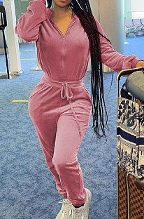 Rose Red  Casual Newest Velvet Long Sleeve Stand Neck Zip Front Collcet Waist Drawsting Jumpsuits LY047-1