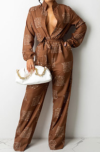 Coffee Women Casual Loose Fashion Long Sleeve Casual Jumpsuit With Waistband SDD9802-1