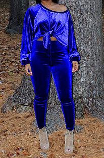 Blue Women Long Sleeve Round Collar Korea Velvet Solid Color Sexy Long Pants Sets MR2123-5